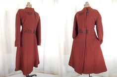 1960s Coat// XL Wool Coat// Victorian Coat// Brown Coat// Fit and Flare Coat// Steampunk Coat// Princess Coat by RockabillyRavenVtg on Etsy