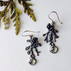 Handcrafted cedar earrings - sterling silver and green amethyst by Robin McGauley www.robinmcgauley.com Sterling Silver Earrings, Robin, Amethyst, Handmade Jewelry, Drop Earrings, Green, Robins, Amethysts, Drop Earring