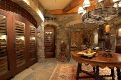 wine cave using wine fridges