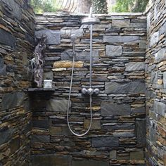 Bathroom , Beautiful Outdoor Shower with Natural Decor and Luxury Touch : Multicolor Natural Wall Stone Of Outdoor Shower