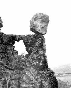 Balanced rock resting above lava arch near Park Lake in Grant County Washington Art, Balanced Rock, Painted Hills, Cascade Mountains, Natural Bridge, North Cascades, Ocean Beach, Mother Earth, Digital Image