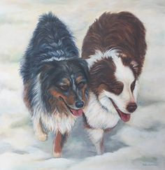 Snow dogs painting