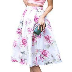 Charming High-Waisted Floral Print Women's Chiffon Skirt