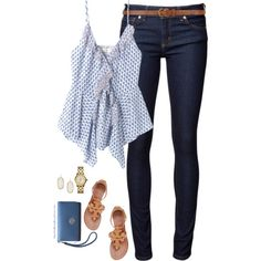 Ditsy tulip cami & jeans by steffiestaffie on Polyvore featuring polyvore, fashion, style, Rebecca Taylor, Naked & Famous, Tory Burch, Kendra Scott and Dorothy Perkins