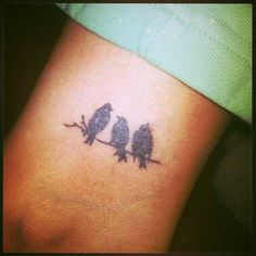 My Bob Marley 3 Little Birds tattoo! Simple Bird Tattoo, Bird Tattoo Men, Little Bird Tattoos, Bird Tattoo Back, Bird Tattoo Wrist, Meaningful Tattoos For Women, Small Tattoos For Guys, Small Wrist Tattoos, Sister Tattoos