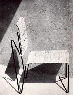 Silla de varilla de hierro aire Tejido de mimbre / Clara Porset / 1950