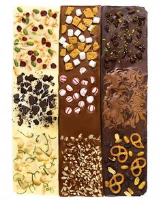 Dark, milk and white chocolate slabs with loads of yummy toppings - candied orange peel, peppermints, nuts, coconut, cookies, pretzels, dried fruits...