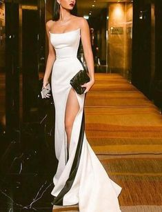 Shop for Sexy Strapless Side Slit Evening Dresses Cheap Online. Try Black White Sleeveless Cheap Formal Party Dress at the best price. Evening Dress Long, Cheap Evening Dresses, Mermaid Evening Dresses, Cheap Dresses, Evening Gowns, Black Evening Dresses, Night Out Dresses, Mermaid Dress Wedding, Black Mermaid Dress