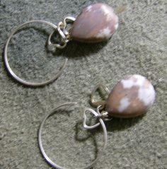 Magnesite Hoop Earrings  Silver Handmade with by JewelryArtistry, $25.00