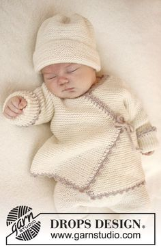 """Knitted DROPS wrap cardigan in garter st and crochet edge in """"Baby Merino"""". Size premature - 4 years. Free pattern by DROPS Design."""
