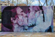 Uriginal, arte urbano en la plaza de las 3 Chimeneas, Barcelona.