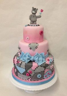 Tatty teddy patchwork cake. - Cake by Laura Woodall