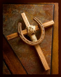 Wood Horseshoe Cross with Rustic Twine Home Decor-Western. $13.00, via Etsy.