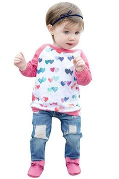2Pcs Outfits Kids Baby Girls Heart Print Shirt Pullovers+Hole Denim Pants Set size 4-5Years/Tag120 (Pink). ✿Material:Cotton Blend,Denim. ✿ Feature: Cute Heart Print,Hole Jeans,Casual Loose Fit,2Pcs Clothes Set,Make Your Little Princess More Adorable. ✿There Is No Harm To Baby's Skin,Suitable For Spring Fall and Winter. ✿Occasion: baby shower gift , playing, sleeping,casual wearing,photography. ✿Package Including1*Child Girls Long Sleeve Pullovers+Ripped Denim Trousers Set.