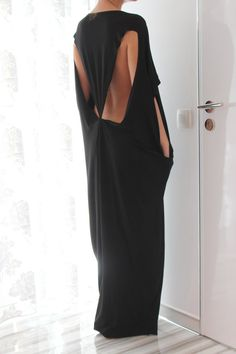 Black Open Back Maxi caftan dress Plus size by cherryblossomsdress, $69.00