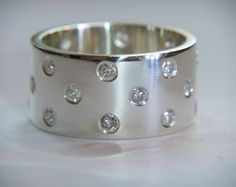Chunky Diamond Ring Handmade Sterling Silver Band With 11 Diamonds 0.33ct Unique Wedding Rings