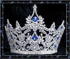 Large Pageant Sapphire Crown (Adjustable) Genuine Swarovski crystals give this crown a beautiful sparkle and extravagant look! This beautiful majestic crown is made for those looking for an elegant lo Royal Crown Jewels, Royal Crowns, Royal Tiaras, Royal Jewelry, Tiaras And Crowns, Gold Crown, Pageant Crowns, Circlet, Diamond Are A Girls Best Friend