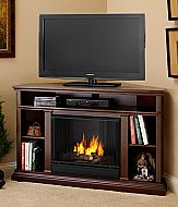 "50.75"" Churchwell Espresso Entertainment Center Corner Gel Fireplace"