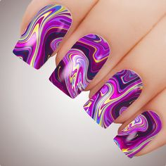 Purple Nail Designs, Gel Nail Designs, Nails Design, Hippie Nails, Sparkle Nails, Fancy Nails, Fingernails Painted, Water Marble Nail Art, Water Nails