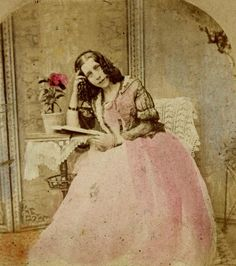 Hand-colored stereoview portrait of an unidentified woman, c. 1850′s/1860′s. Source: Rijksmuseum.