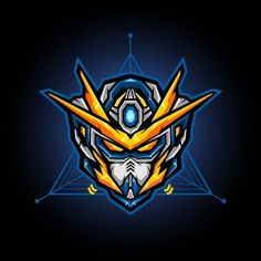 gundam head vector for e sports logo or gaming mascot, robot head for t shirt printing, apparel or badge - Buy this stock vector and explore similar vectors at Adobe Stock Gundam Head, Gundam Art, Robot Logo, Vector Robot, Gundam Wallpapers, Game Logo Design, Esports Logo, Mascot Design, Gundam Model
