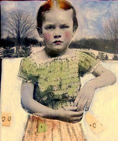 Little Green  vintage child original long mixed by MaudstarrArt, $44.99