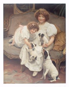 """2 of 2: In this second depiction of two girls on a sofa with Jack Russell pups, some aspects of Elsley's painting show to better advantage. After his initial oil was exhibited in 1909, he reproduced the image in 1910 as a sepia photogravure print and altered the title to """"Room for one More"""". Arthur J Elsley (UK) 1860-1952"""