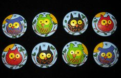 OWLS on BLUE Wooden Knobs - Hand Painted Wooden Drawer Knobs/Pulls - Set of 8 - Great for Kid's Room, Nursery or Office. $36.00, via Etsy.