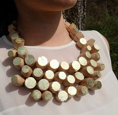 "Isabelle Hertzeisen Necklace: Untitled, 2014 Gold leaf, Wood, goldened thread Project: ""Ultima Forsan"", 2014"