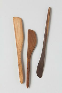 Handcarved Wooden Spreaders #anthropologie  Love the warmth of these wooden spreaders