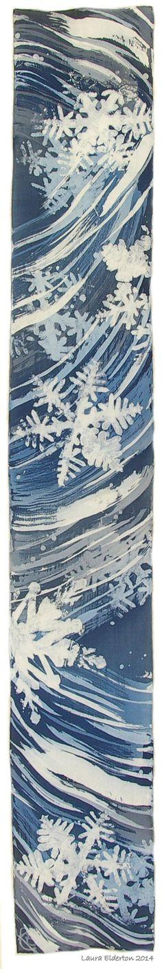 "Hand Dyed Crepe de Chine Silk Scarf  Snowflakes on a Stormy Night by LauraElderton (8""x54"") www.etsy.com/shop/lauraelderton"
