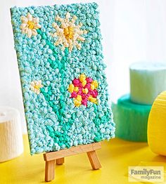 Create 3-D textured artwork with balled-up bits of crepe paper.