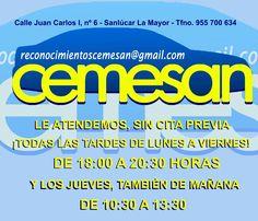 https://www.facebook.com/reconocimientoscemesan/photos/a.363786777150377.1073741832.363576277171427/483869088475478 Le atendemos, sin necesitar Cita Previa DE LUNES A VIERNES, DE 18:00 A 20:30 HORAS Y LOS JUEVES, TAMBIÉN DE 10:30 A 13:30 HORAS  CEMESAN – Certificados Médicos facebook.com/reconocimientoscemesan C/ Juan Carlos I, 6, Sanlúcar La Mayor Tfno.: 955 700 634 – Whatsapp: 687 682 224  Promocionado por Globalum. Marketing en Redes Sociales facebook.com/globalumspain