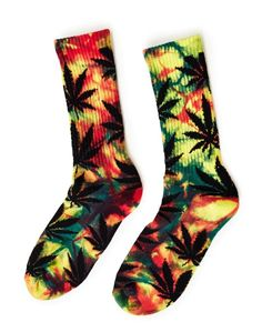 HUF Tiedye Plantlife Rainbow Crew Sock Yellow #StyleMadeEasy
