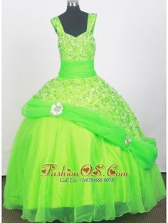 2013 Elegant Spring Green Little Girl Pageant Dresses With Beading- $174.29  http://www.fashionos.com  http://www.facebook.com/quinceaneradress.fashionos.us  Beautiful and unique pageant dress. This floor length pageant dress has a fitted bodice, and a layered ball gown skirt which features sparking sequins and handmade flowers. This adorable dress will make your little pageant girl a star.