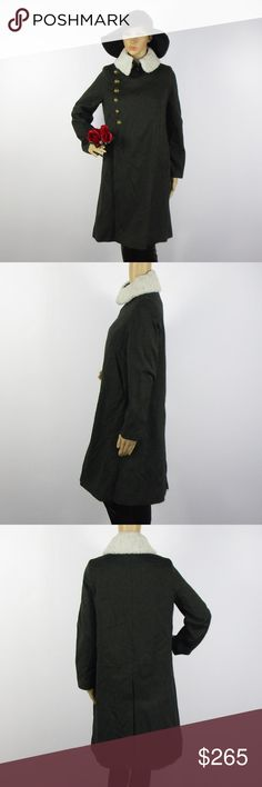 All Saints Green Cotton Wool Coat Button Up Sz 2 This beautiful coat is in excellent condition! As always offers and bundles are welcome. Feel free to add one or more items to a bundle for a private discount offer!!!  Armpit to armpit is 19.75 inches across Sleeve length is 23.75 Waist is 21.25 inches across Hips are 23.75 inches  Length is 39 All Saints Jackets & Coats
