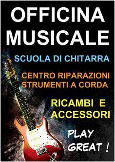 Officina Musicale, scuola di chitarra, centro riparazionia corda, ricambi e accessori musicali