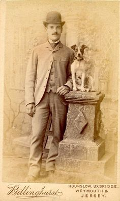 Vintage Doggy: Vintage Photos of Men and their Dogs Vintage Pictures, Old Pictures, Vintage Images, Photos With Dog, Old Photography, Tier Fotos, Fox Terrier, Old Dogs, Victorian