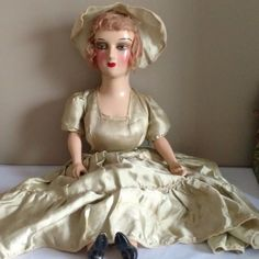 """Antique Boudoir 26"""" Composition Head and Shoulder Lower Arms Legs w Eyelashes 