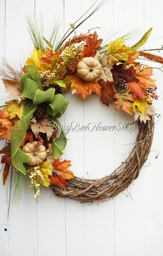 Fall Thanksgiving Grapevine Wreath for Front Door, Fall Front Porch Decor, Rustic Home Fall Decor, Traditional Fall Home Decor, Pumpkin Fall Wreath Fall Home Decor, Autumn Home, Wreaths For Front Door, Front Porch, Thanksgiving Wreaths, Fall Pumpkins, Porch Decorating, Grapevine Wreath, Grape Vines