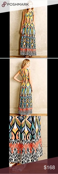 """Anthropologie / Floreat sleeveless  Maxi Dress 2 Anthropologie / Floreat sleeveless """"Dahlia Embroidered Maxi Dress"""" gorgeous rich vibrant yellow gold, coral , black, white, periwinkle & turquoise Maxi Dress lined   Pleating at bust and back * side zipper * gold button at neck triangle keyhole            New Without Tags  *  Size:  2        retail $198.00  US 2P  *  UK 6P  *  EU 34P           100% chiffon poly shell 100% ivory poly lining         machine wash              32"""" around bust…"""