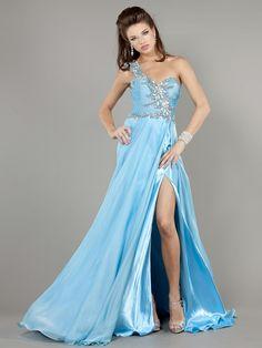 1-Shoulder Jovani 805 Light Blue A-Line Sexy Gown (Front #1)