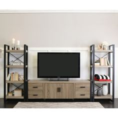 Update your living space with this Urban Blend entertainment center. The beautiful driftwood finish and reclaimed look have a contemporary style that makes this modern entertainment center visually ap Living Room Entertainment Center, Diy Entertainment Center, Entertainment Furniture, Entertainment Products, Living Room Tv, Living Room Remodel, Dining Room, Tv Stand Bookshelf, Tv Stand Cabinet