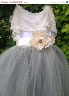 Gray Tulle Junior Bridesmaids Tutu by chachalouise,  #junior #bridesmaids #dresses #teens #wheretobuy #fall #wedding #gown