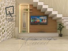 Best Basement Stairs Covering Staircases Ideas unit Under Staircase unit design With Partition Home Stairs Design, Tv Wall Design, House Design, Stair Wall Decor, Stair Walls, House Stairs, Basement Stairs, Living Room Under Stairs, Living Rooms