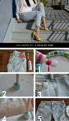 SwellMayde DIY | Marc Jacobs Inspired Polka Dot Jeans