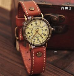 Handmade Leather Bracelet Watch - Vintage Style With Roman numerals. $27.80, via Etsy.