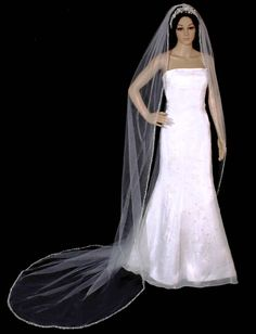 Royal Cathedral 120 Long Sparkling Beaded Pearl Wedding Veil