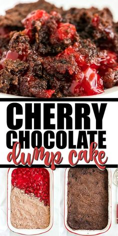 This chocolate cherry dump cake is a moist and tasty dessert that is so simple to bake from scratch! You'll be amazed how easy this chocolate cherry dump cake recipe is: just pour your cherry pie fill Cherry Desserts, Cherry Recipes, Köstliche Desserts, Delicious Desserts, Dessert Recipes, Cherry Pie Filling Desserts, Homemade Desserts, Health Desserts, Chocolate Cherry Dump Cake