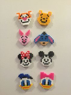 Perler, Magnet, Perler beads, Perler magnet, Pixel art, Magnets, Beads, Hama, Mickey, Minnie, Donald, Daisy, Pooh, Tigger, Set of 8 magnets
